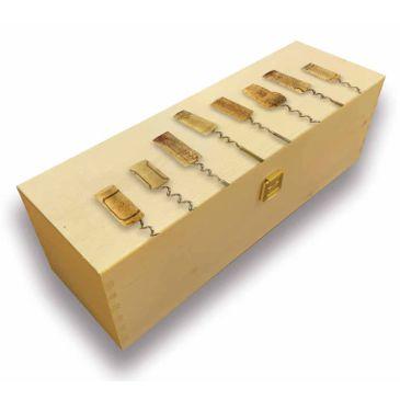 Cassetta di legno per una bottiglia sughero