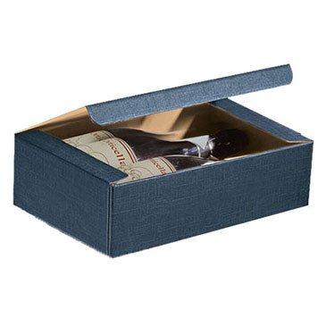 Scatola vino regalo da 3 bottiglie blu